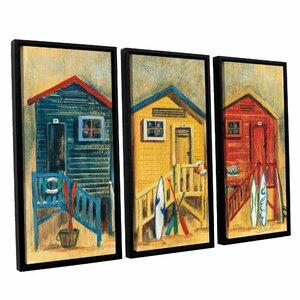 'Summer Cabanas' 3 Piece Framed Painting Print on
