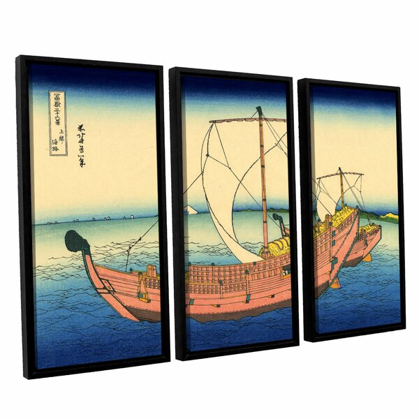 The Kazusa Province Sea Route by Katsushika Hokusai 3 Piece Framed Painting Print on Wrapped Canvas Set by ArtWall