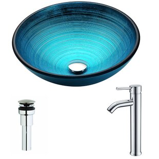 Big Save Enti Glass Circular Vessel Bathroom Sink with Faucet By ANZZI