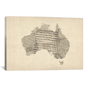 'Australia Sheet Music Map' by Michael Tompsett Painting Print on Canvas by iCanvas