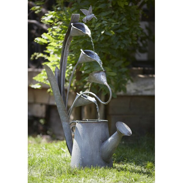Water Can and Anthurium Hummingbird Metal Fountain by Melrose International