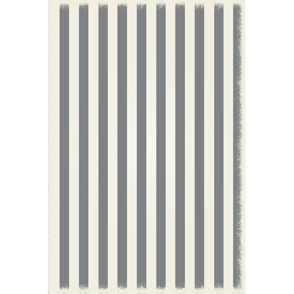 Croom Strips Design Gray/White Indoor/Outdoor Area Rug by Breakwater Bay