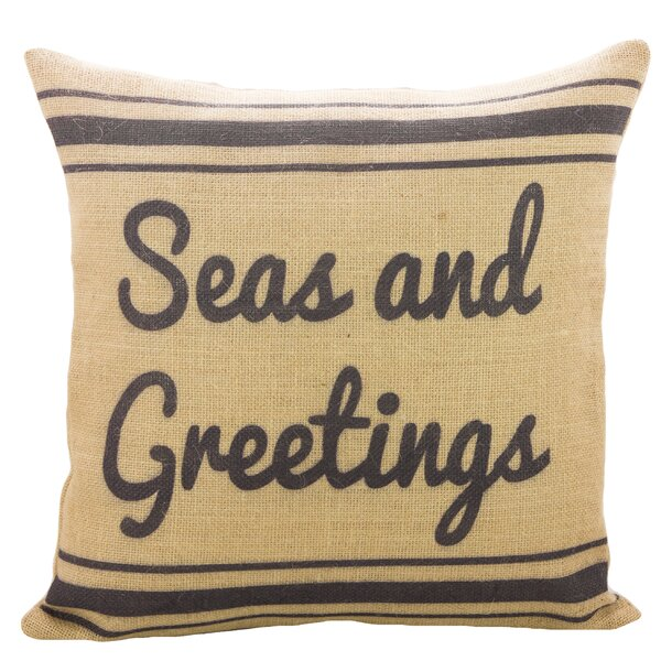 Seas and Greetings Burlap Throw Pillow by TheWatsonShop