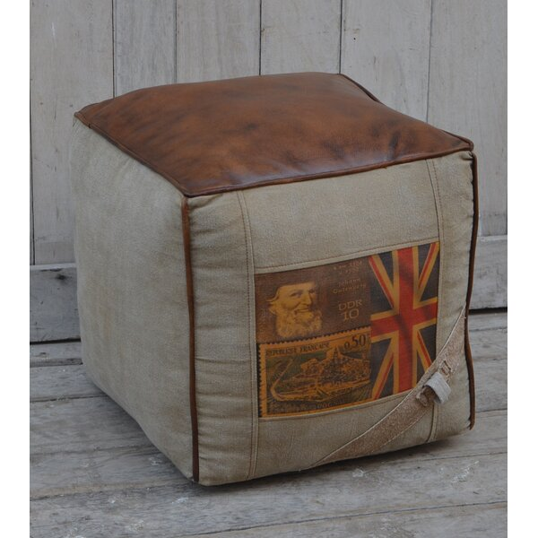 Greenbank Leather Pouf by Williston Forge