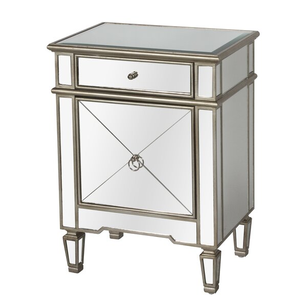 Mirrored 1 Drawer Nightstand by Worlds Away