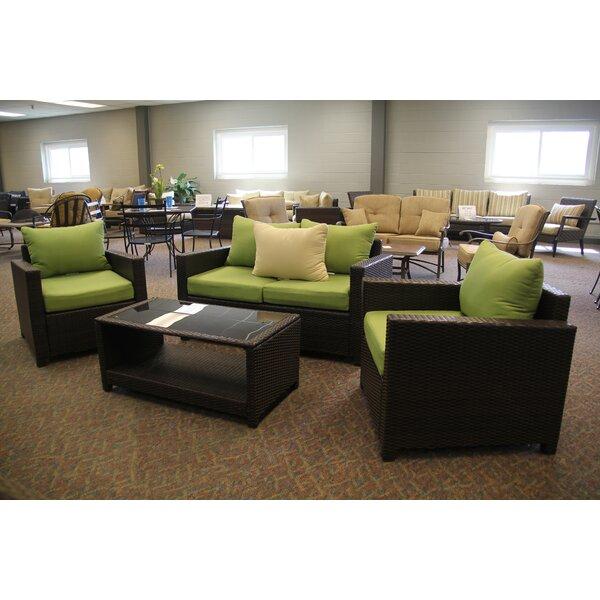 Jakarta 4 Piece Rattan Sofa Seating Group with Cushions by Huayue Alu,\m. Manu. Co. Ltd.