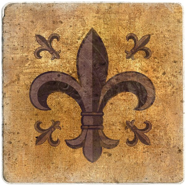 Fleur de Lis Travertine Ambiance Trivet by Thirstystone