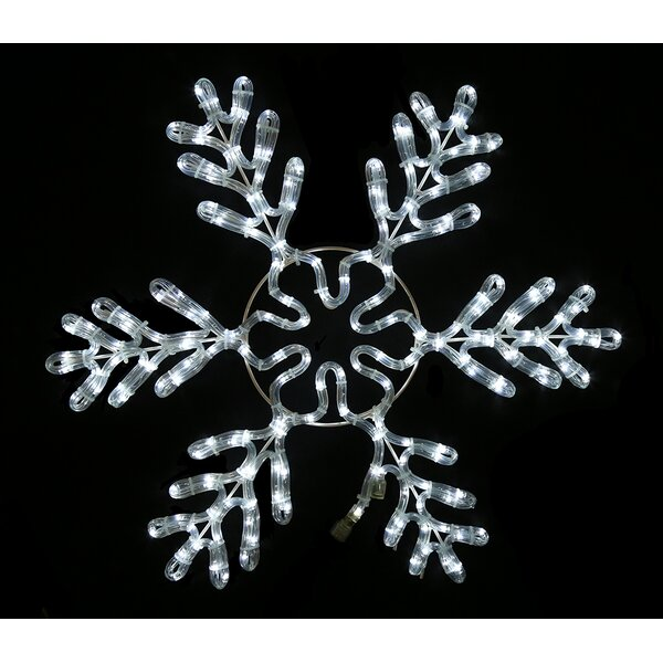White Rope Lit Snowflake Ice by Queens of Christmas