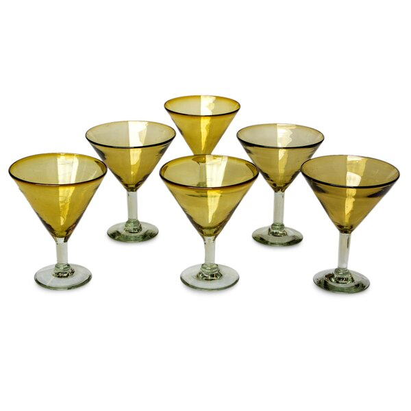 Hand Blown 13 oz. Martini Glass (Set of 6) by Novica