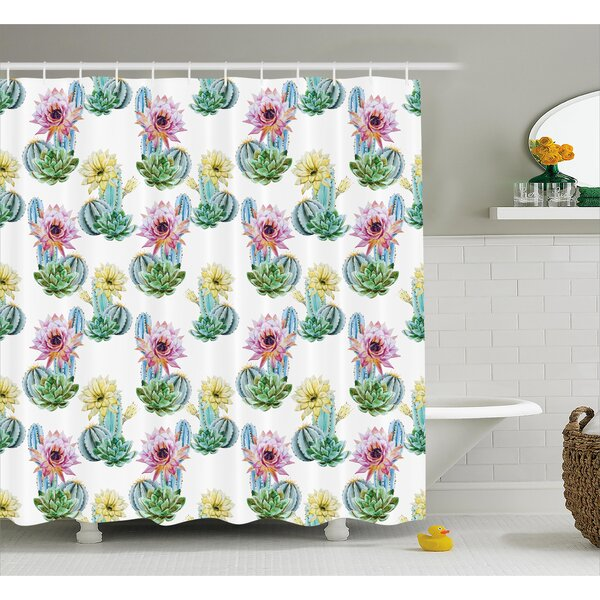Sharon Hot Desert South Mexican Vintage Plant Cactus Flowers With Spikes Shower Curtain By Bungalow Rose.