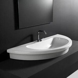 Price comparison Kart Ceramic U-Shaped Vessel Bathroom Sink ByWS Bath Collections