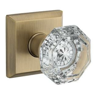 Crystal Single Dummy Door Knob with Traditional Sq