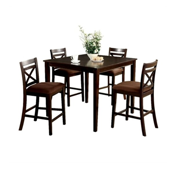 Faucher Transitional 5 Piece Counter Height Solid Wood Dining Set by Darby Home Co