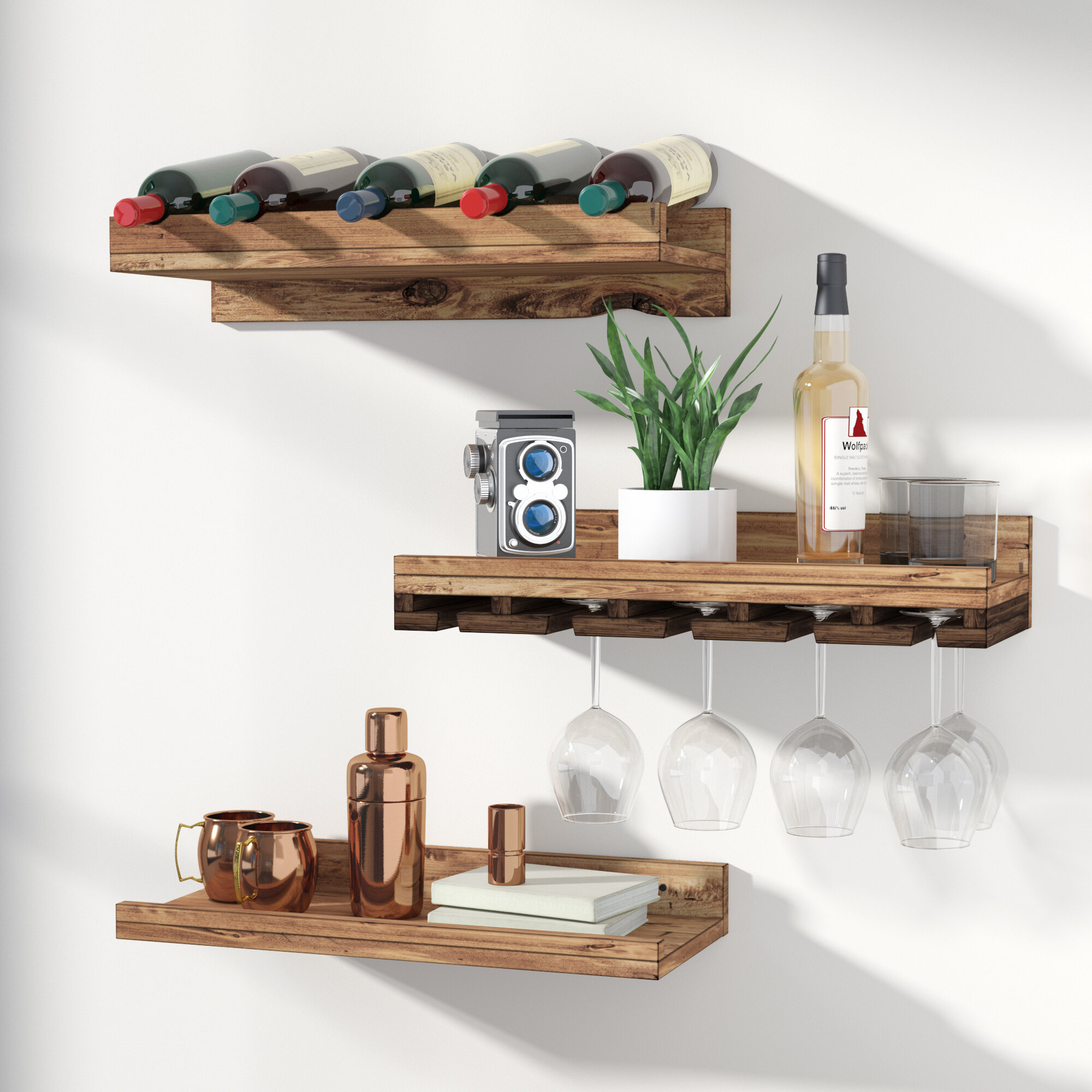 Union rustic dunlap 5 bottle wall mounted 3 piece wine bottle rack union rustic dunlap 5 bottle wall mounted 3 piece wine bottle rack reviews wayfair reviewsmspy