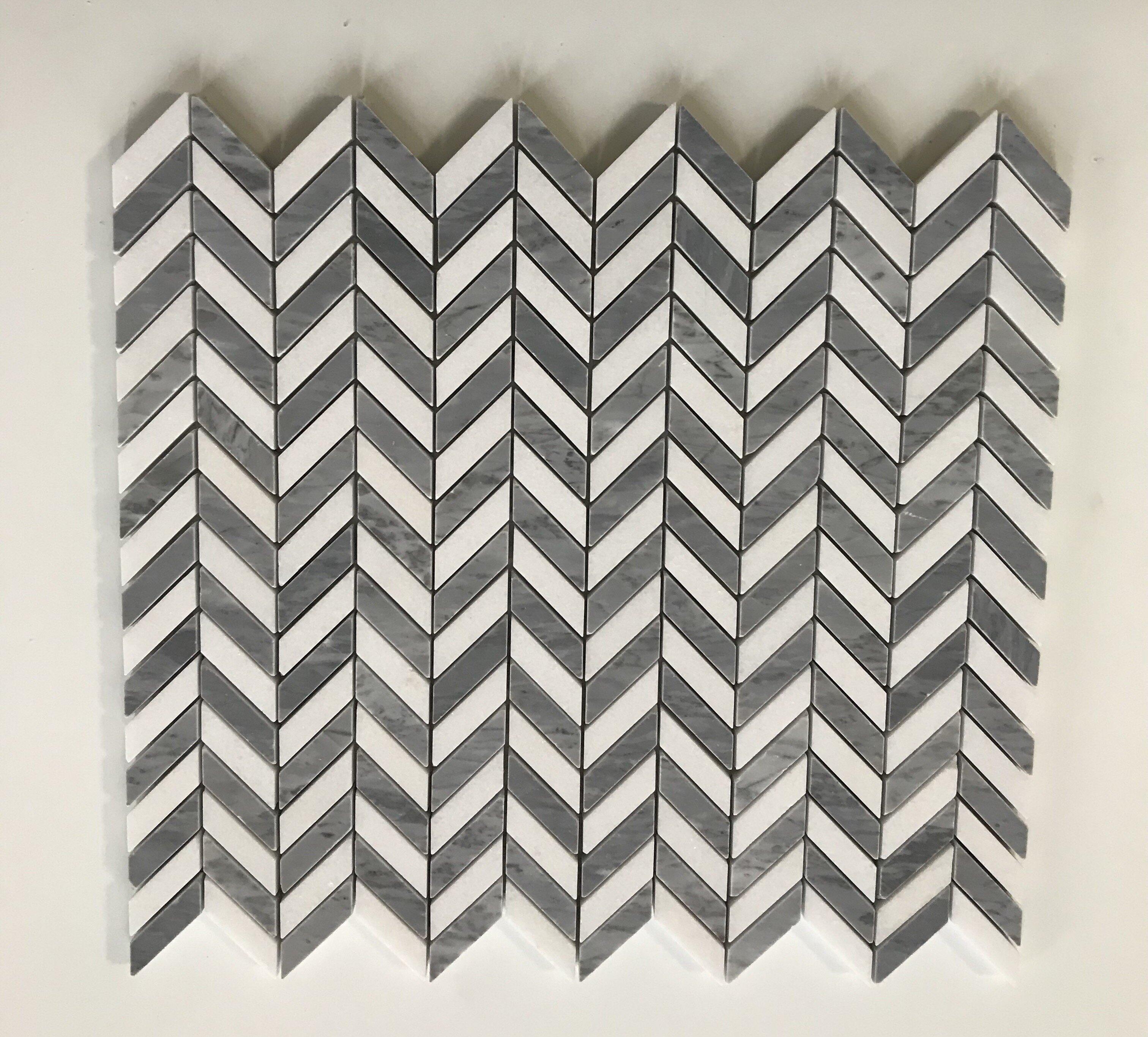 Thos Mini Chevron 0 38 X 1 Marble Mosaic Tile