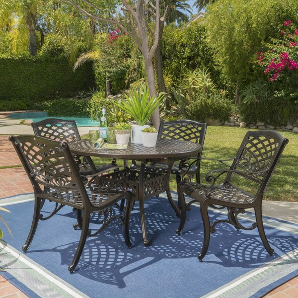 Raby Outdoor 5 Piece Dining Set by Fleur De Lis Living