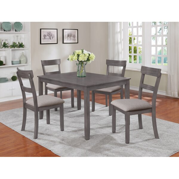 Great price Henderson 5 Piece Solid Wood Dining Set By Crown Mark 2019 Coupon