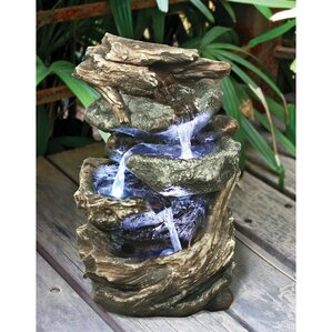 Wonderful Resin Glacier Peak Cascading Garden Tiered Fountain With LED Light
