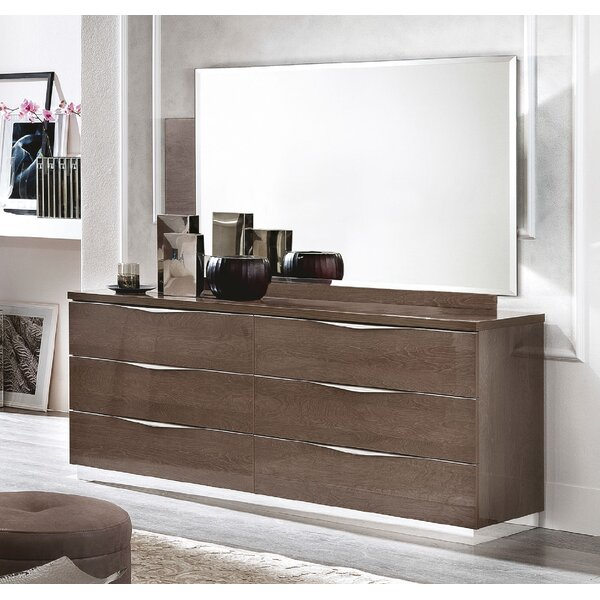 Vandervoort 6 Drawer Double Dresser with Mirror by Orren Ellis