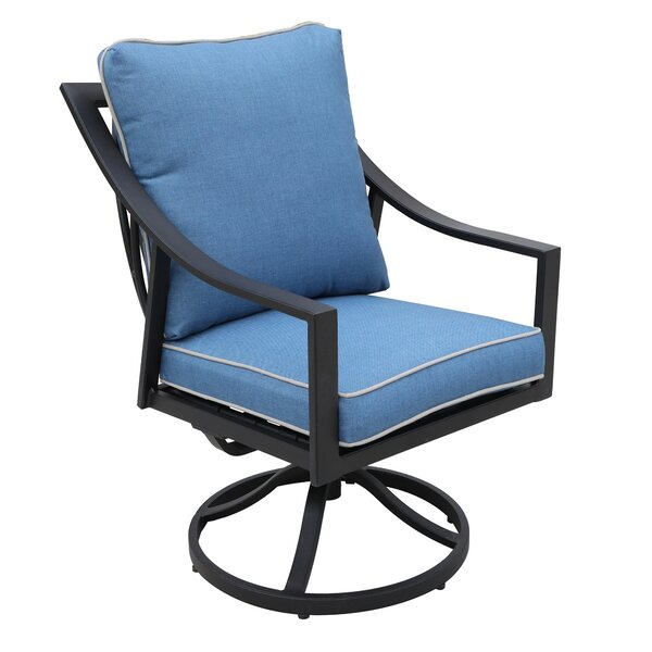Rolla Outdoor Swivel Patio Dining Chair with Cushion (Set of 2) by Canora Grey