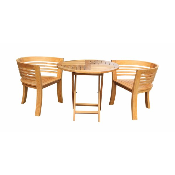 Meyer 3 Piece Teak Bistro Set by Bay Isle Home