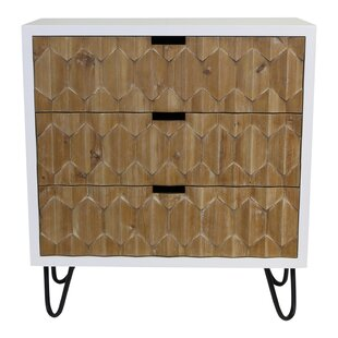 Yancy Natural Origami 3 Drawer Accent Chest