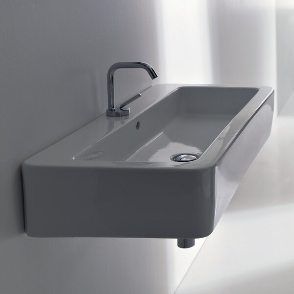 Kerasan Ceramic Rectangular Vessel Bathroom Sink with Overflow by WS Bath Collections