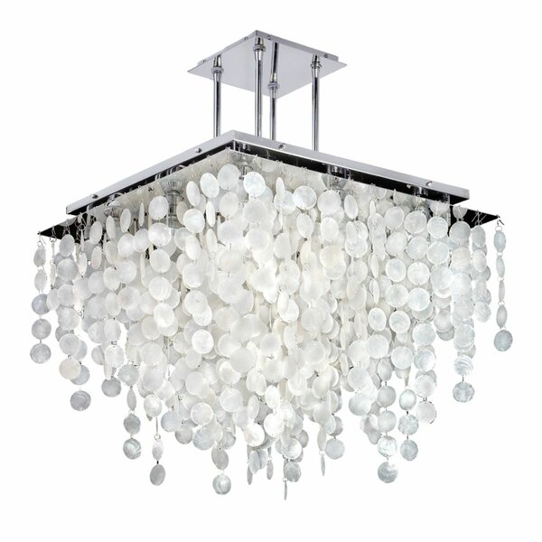 Cohen-Arazi 9 - Light Unique / Statement Square / Rectangle Chandelier with Seashell Accents by Everly Quinn Everly Quinn