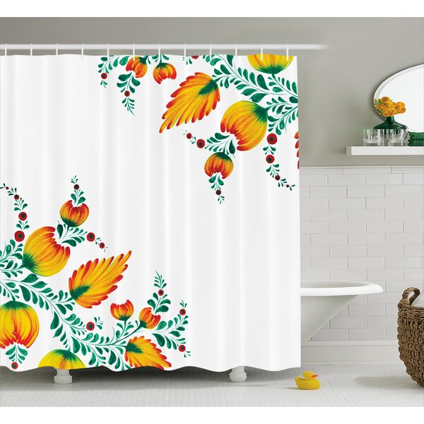 Japanese Watercolor Flower Decor Shower Curtain by East Urban Home
