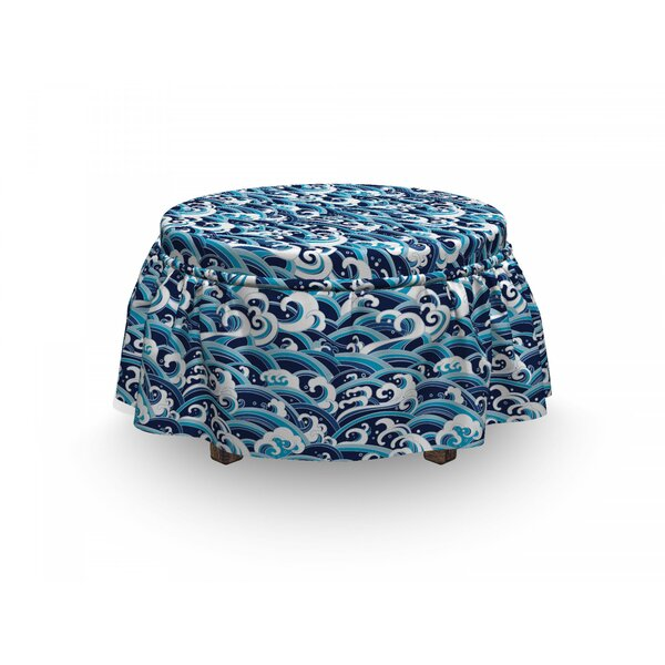 Japanese Wave Splash Foam 2 Piece Box Cushion Ottoman Slipcover Set By East Urban Home