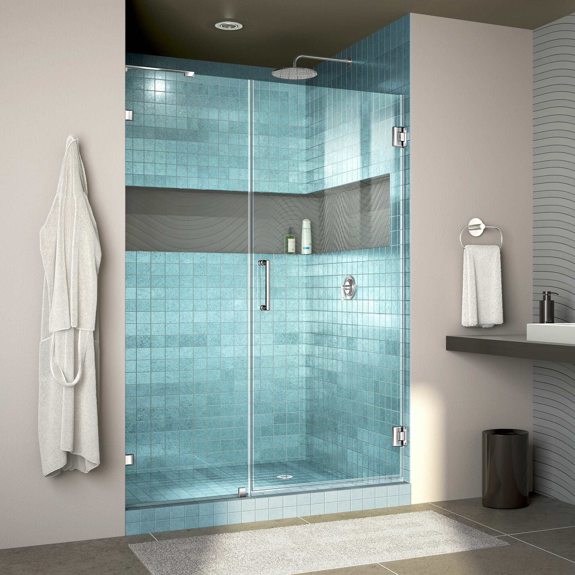 Unidoor Lux 51 X 72 Hinged Frameless Shower Door With Clearmax Technology