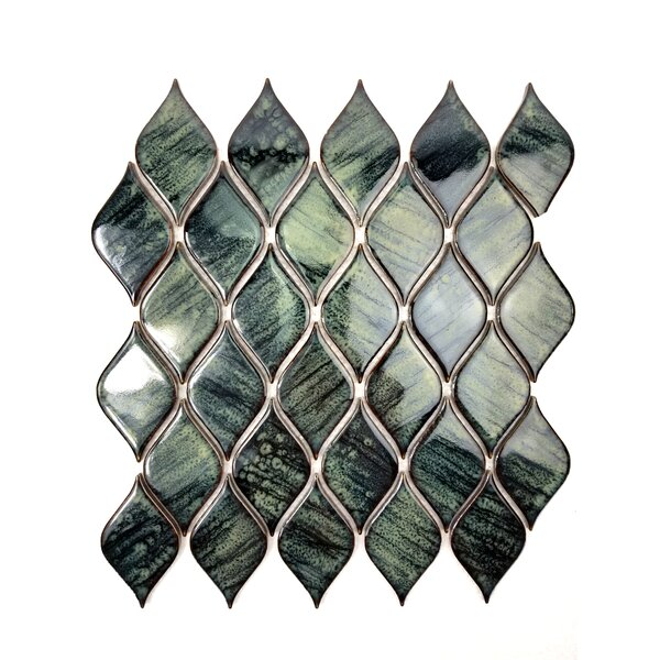 Monet Tiffany Lantern 12 x 12 Porcelain Tile in Dark Green/Spring by Abolos