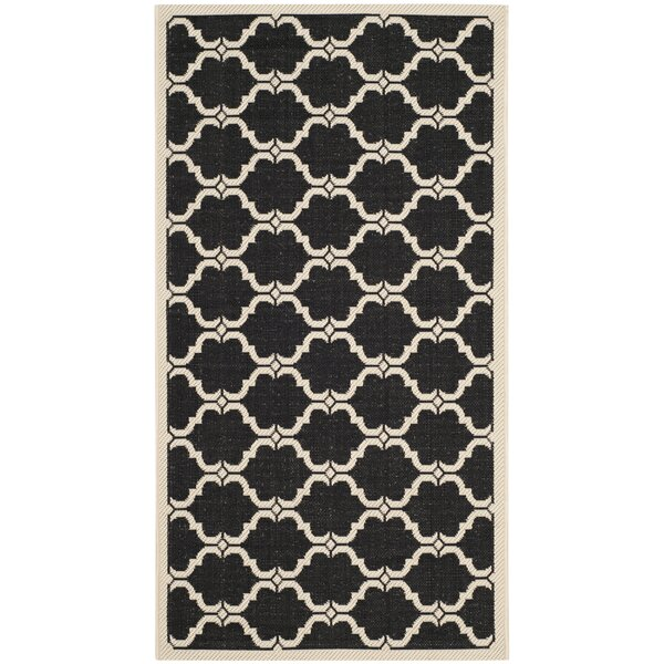 Short Black/Beige Indoor/Outdoor Rug by Winston Porter