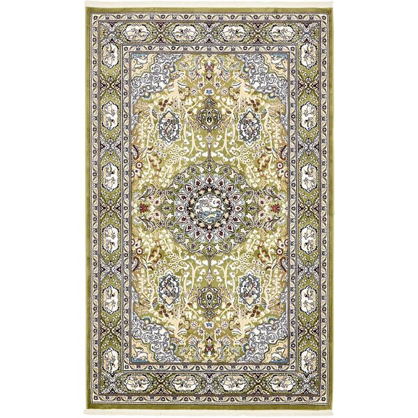 Quince Green/Tan Area Rug by Astoria Grand