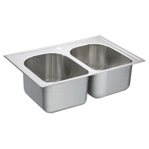 Moen 1800 Series Stainless Steel 1 Hole Double Bowl 33