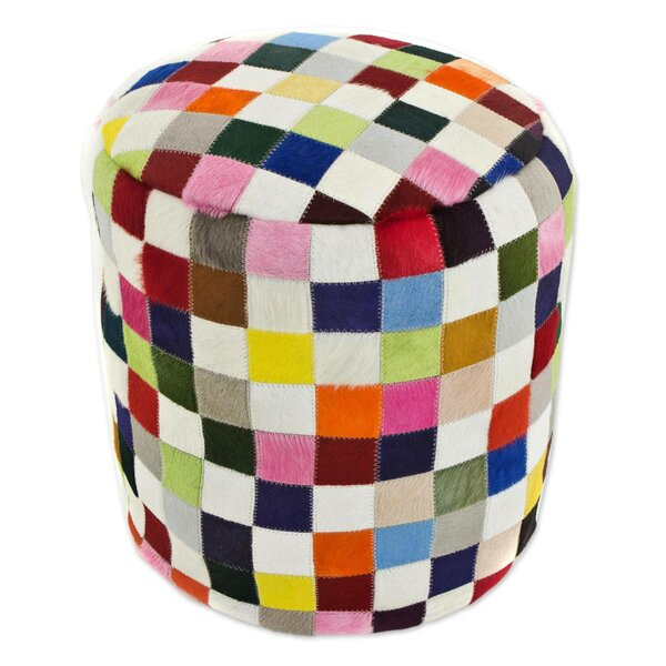 Carnaval Chess Cowhide Box Cushion Ottoman Slipcover By World Menagerie
