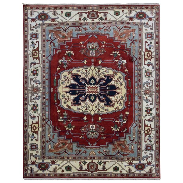 One-of-a-Kind Galilee Serapi Hand-Woven Wool Red/Blue/Beige Area Rug by Bloomsbury Market