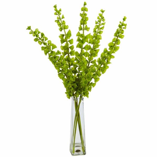 Silk Bells of Ireland Arrangement Floor Foliage Plant in Decorative Vase by Wade Logan