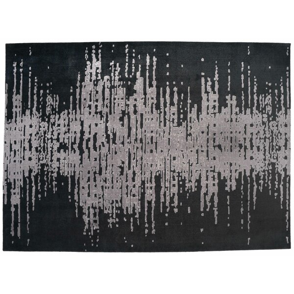 One-of-a-Kind Hand-Knotted Black/Gray 8'9 x 11'7 Wool Area Rug