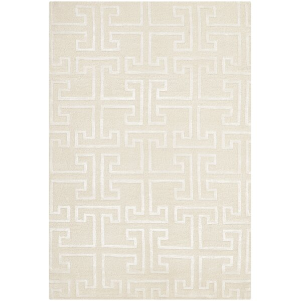 Fogg Tibetan Hand Knotted Ivory/White Area Rug by Everly Quinn