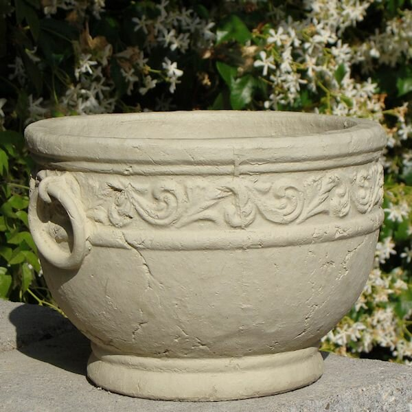 Motif Round Crock with Rings Cast Stone Pot Planter by Designer Stone, Inc