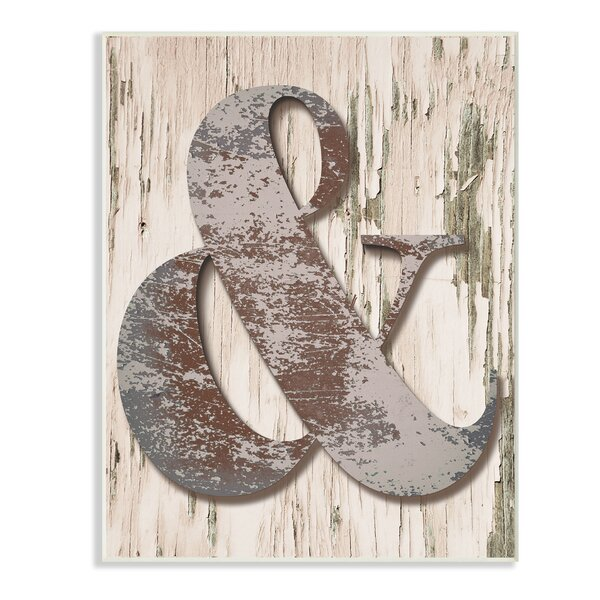 Distressed Wood and Patina Ampersand Textual Art by Stupell Industries