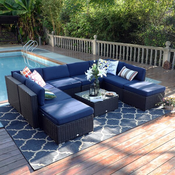 Northwich Outdoor 9 Piece Rattan Sectional Seating Group with Cushions by Ivy Bronx