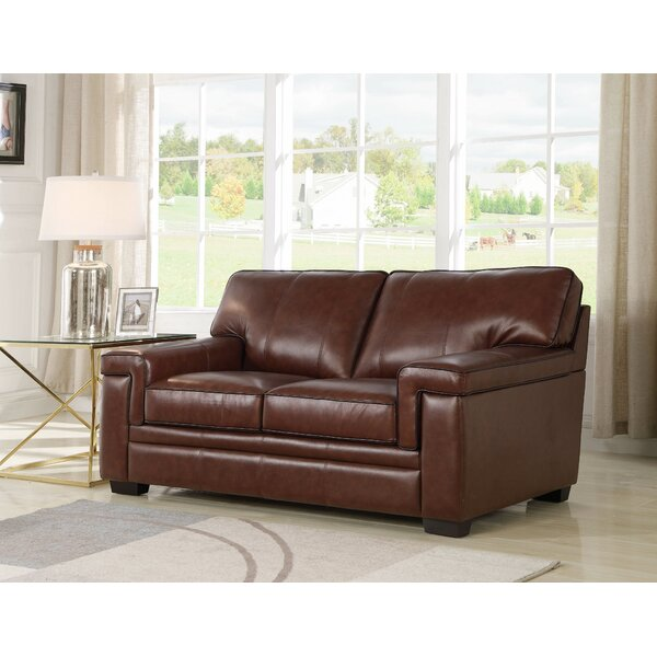 Cabott Leather Loveseat by Three Posts