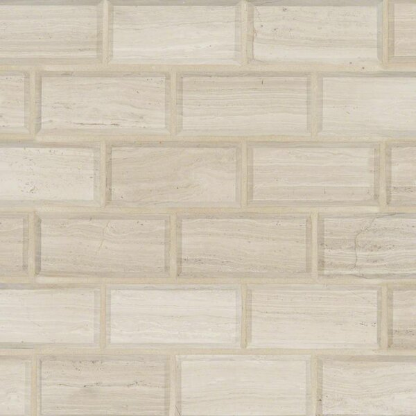 Oak Hon and Beveled 2 x 4 Marble Tile in Gray by MSI
