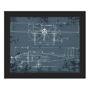 'Airplane Blueprint' Framed Graphic Art by Click Wall Art