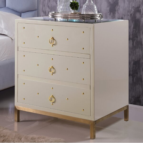 Dolson 3 Drawer Nightstand by Everly Quinn