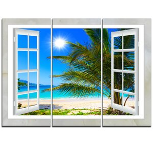 Window Open to Beach with Palm - 3 Piece Graphic Art on Wrapped Canvas Set by Design Art