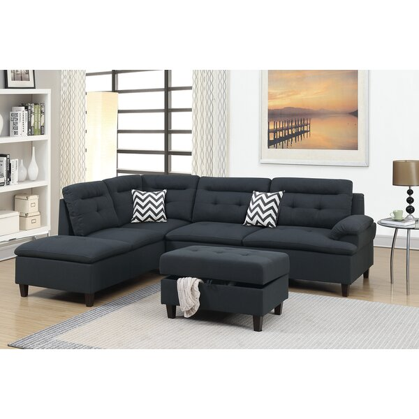 Chic Style Elmdale Left Hand Facing Sectional with Ottoman by Ebern Designs by Ebern Designs