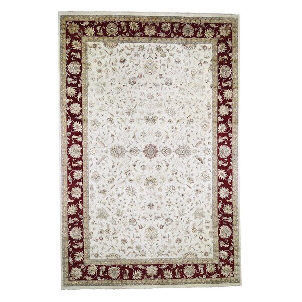One-of-a-Kind Dawnview Hand-Knotted Rajasthan Ivory/Red 12' x 18'2 Area Rug
